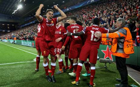 Liverpool stun man city with 3 0 win at anfield liverpool players celebrate sadio manes goal against manchester city in the uefa champions league on 4 stopboris Gallery