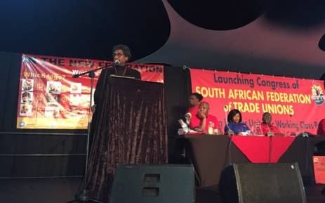 Cosatu's founding general secretary Jay Naidoo addressing the official launch and founding congress of the new federation, the South African Federation of Trade Unions in Boksburg. Picture: Twitter/@SAFTU_media.