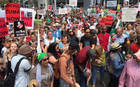 Demonstrators at the Zuma Must Fall march in Braamfontein. Picture: Vumani Mkhize/EWN.
