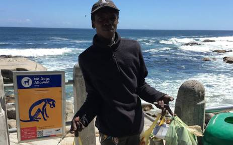 Homeless man Siyabulela Magobiyane, also known as Dan, regularly cleans Bantry Bay Beach because he wants it to look good for tourists. Picture: Jay Margolis via Facebook.
