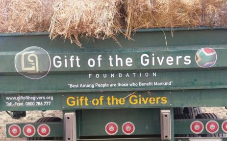 A Gift of the Givers truck delivers animal fodder. Picture: @GiftoftheGivers/Facebook