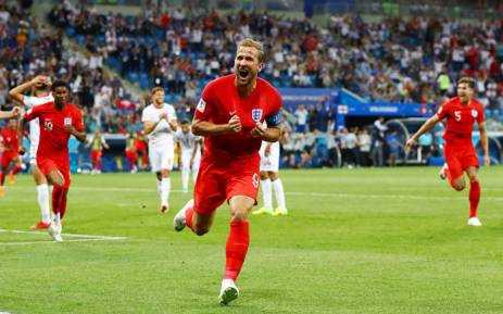 England captain Harry Kane celebrates his goal during the World Cup match against Tunisia on 18 June 2018. Picture: @England/Twitter