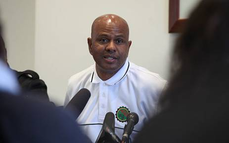 Amcu's Joseph Mathunjwa speaks during a media briefing. Picture: Taurai Maduna/EWN