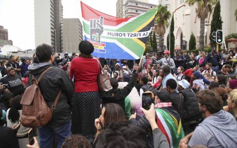 Protesters closed the roads in front of Parliament following the cabinet reshuffle. Picture: Cindy Archillies/EWN.