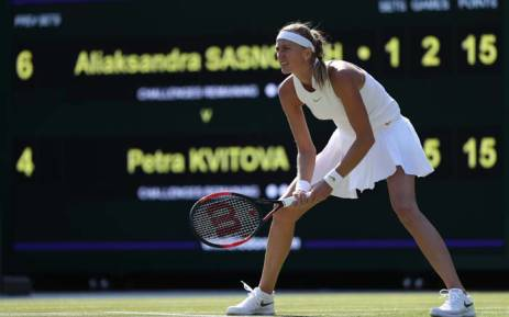Petra Kvitova of the Cezh Republic during her first-round match against Aliaksandra Sasnovich of Belarus. Picture: @Wimbledon/Twitter.