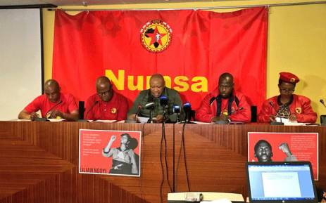 FILE: Numsa's Irvin Jim (C) is seen during a media briefing on 24 April 2018. Picture: Katleho Sekhotho/EWN