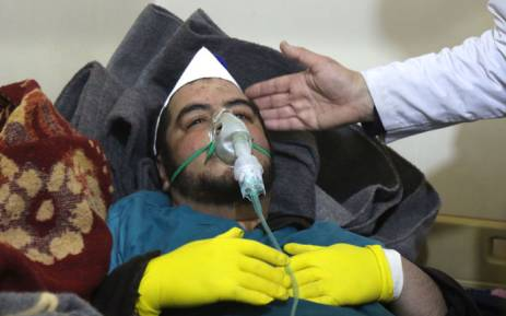 A Syrian man receives treatment at a small hospital in the town of Maaret al-Noman following a suspected toxic gas attack in Khan Sheikhun, a nearby rebel-held town in Syria's northwestern Idlib province, on 4 April 2017. Picture: AFP.