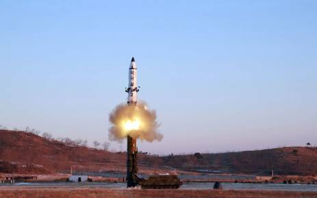 The launch of a surface-to-surface medium long-range ballistic missile Pukguksong-2 at an undisclosed location. North Korea said on 13 February it had successfully tested a new ballistic missile, triggering a US-led call for an urgent UN Security Council meeting after a launch seen as a challenge to President Donald Trump. Picture: AFP.