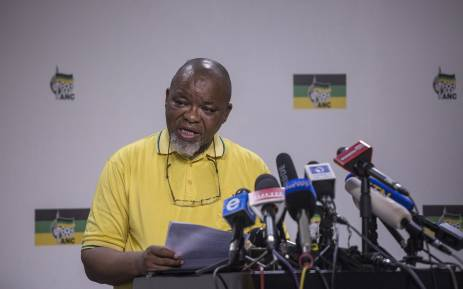 Gwede Mantashe Secretary General of the African National Congress address the media during a press briefing at Luthuli House in Johannesburg. Picture: Ihsaan Haffejee/EWN