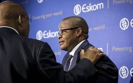 FILE: Eskom CEO Brian Molefe speaks to Chairman Ben Ngubane before a press conference in Johannesburg on 3 November 2016. Picture: Reinart Toerien/EWN