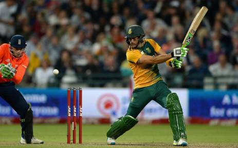South Africa's T20 captain, Faf du Plessis directs the ball during the Proteas clash against England on 19 February 2016. Picture: Facebook.