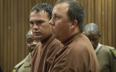 FILE: The coffin case duo Theo Jackson (R) and Willem Oosthuizen (L) appeared at the North Gauteng High Court on 9 November 2017 after being summoned by the judge who presided over their case. Picture: Ihsaan Haffejee/EWN