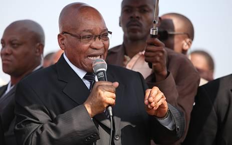 President Jacob Zuma addresses workers in Marikana, on 22 August 2012. Picture: Taurai Maduna/EWN.