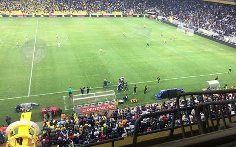 Bidvest Wits and fans celebrate after their victory over Mamelodi Sundowns. Picture: @MTN8 via Twitter.