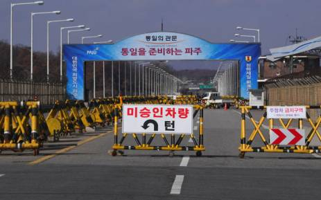 A barricade is set on the road leading to the truce village of Panmunjom at a South Korean military checkpoint in the border city of Paju near the Demilitarized Zone (DMZ) dividing the two Koreas on November 14, 2017. Picture: AFP