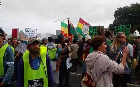 Twitter screengrab of pro-dagga Capetonians during the Cannabis March on 6 May 2017.