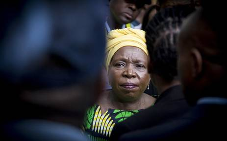 Former African Union (AU) chairperson Nkosazana Dlamini-Zuma looks through the crowd of supporters after her arrival from Ethiopia at OR Tambo International Airport in Johannesburg on 15 March 2017. Picture: Reinart Toerien/EWN