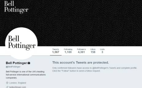 A screengrab of British public relations firm Bell Pottinger's Twitter page.