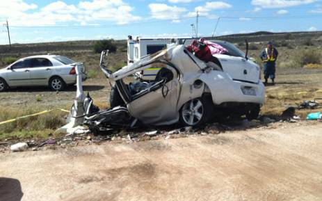 The wreckage of a car involved in an accident on the N1 between Laingsburg and Beaufort Wes on Sunday 16 December 2012. Picture: Melvyn Boiskin/iWitness.