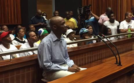 Former Jozi FM DJ Donald Sebolai sits in the dock ahead of his sentencing for the murder of his girlfriend Dolly Tshabalala. Picture: Vumani Mkhize/EWN.