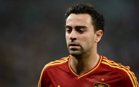 Spanish midfielder Xavi Hernandez looks on during the Euro 2012 football championships quarter-final match Spain vs France on June 23, 2012 in Donetsk. Picture: AFP/ Franck Fife