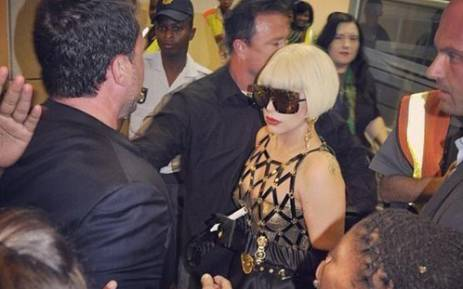 Lady Gaga arrives at Lanseria Airport in Johannesburg on 27 November 2012. Picture: Lady Gaga via Twitter.
