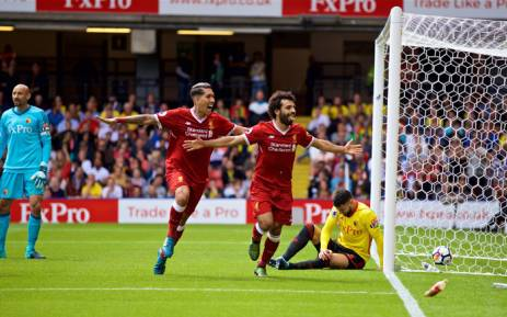 James Milner and Mohamed Salah Ghaly celebrate Liverpool's second goal against Watford on 12 August. Picture: Twitter/@LFC.