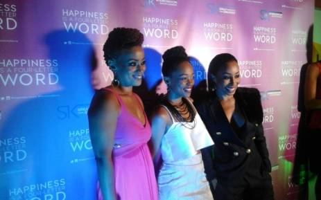 Renate Stuurman, Mmabatho Montsho and Khanyi Mbau at the premiere of 'Happiness is a Four Letter Word' in Rosebank on 11 February 2016. Picture: Neo Koza/EWN
