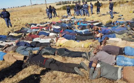 Police in Mpumalanga conducted operations in and around the Evander area over the weekend of 9 and 10 June in which more than 100 illegal miners were arrested by members of Crime Prevention and K9 Unit in the cluster in Secunda. Picture: SAPS.