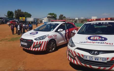 Emergency services at an Ivory Park school where 19 children were injured in a stampede on 13 October 2017. Picture: Twitter/@_ArriveAlive
