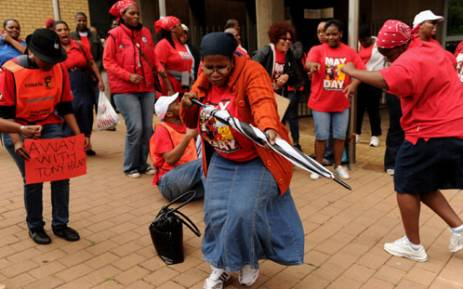 "File: Protesting CWU members are seen in Johannesburg on 29 October 2012. They were marching to the SA Post Office over the ""unlawful reversal of union membership"" and salary grievances. Picture: SAPA"