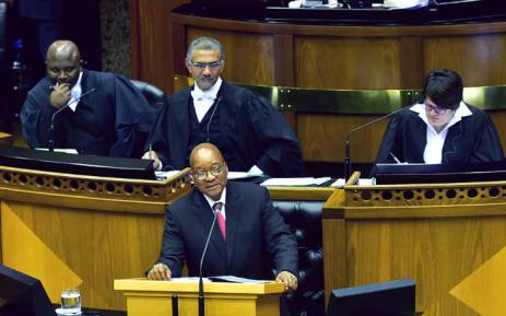 President Jacob Zuma responding to questions in the National Assembly in Parliament. Picture: GCIS