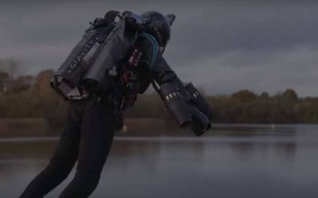 A British inventor billed as a real-life version of the superhero Iron Man has hit the fastest speed in a body-controlled jet engine power suit at 51 kilometres per hour. Picture: Screengrab