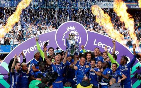 Chelsea players celebrate with the trophy after winning the Premier League. Picture: Twitter/@ChelseaFC