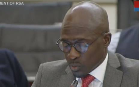 A screengrab of Home Affairs Minister Malusi Gigaba appearing at Parliament's inquiry into state capture at Eskom on 13 March 2018.
