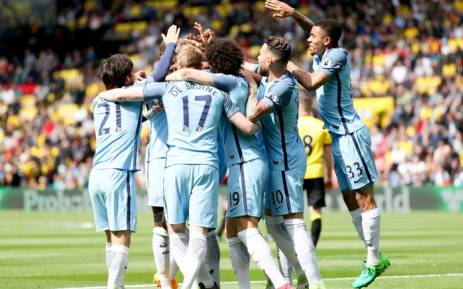 FILE: Manchester City players celebrate a victory. Picture: Twitter/@ManCity