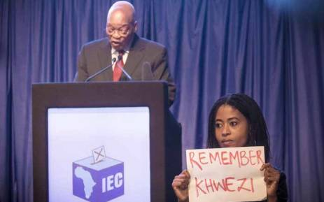 One of the four women who staged a silent anti-rape protest during President Jacob Zuma's address at the IEC briefing on 6 August 2016. Picture: Thomas Holder/EWN.
