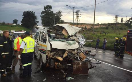 Several fatalities reported, approx 16 injured. Taxi head on with truck on Main Reef and Luipaard, Krugersdorp. Picture: Twitter @ER24EMS