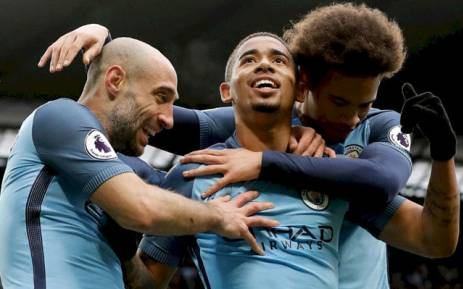 Manchester City's Gabriel Jesus (C) celebrates with team mates after scoring in a match against Swansea City on 5 February 2017. Picture: @ManCity.