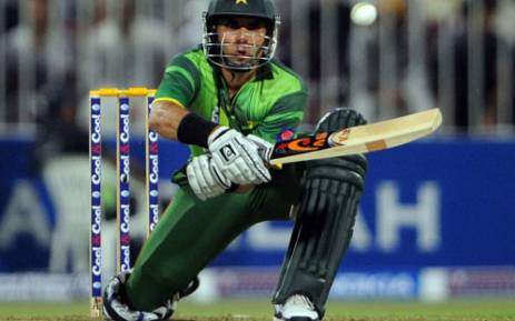 Pakistani captain Misbah ul Haq plays a reverse sweep during the first One Day International cricket match between Pakistan and Australia at the Sharjah cricket stadium on August 28, 2012. Picture: AFP