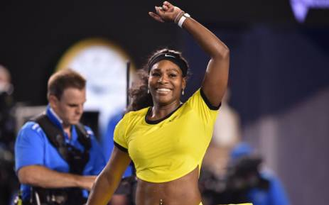 Serena Williams celebrates after victory in her women's singles semi-final match against Poland's Agnieszka Radwanska on day eleven of the 2016 Australian Open tennis tournament in Melbourne on January 28, 2016. Picture: AFP