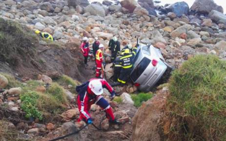 A man has been injured after crashing his vehicle off a cliff on Victoria Road in Camps Bay on 13 July 2018. Picture: Twitter/@ER24EMS