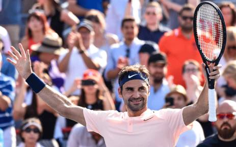 Roger Federer of Switzerland celebrates his 6-3, 7-6 victory over Robin Haase of Netherlands during day nine of the Rogers Cup on 12 August 2017 in Montreal, Quebec. Picture: AFP.
