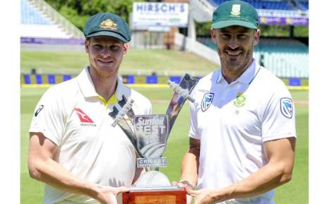 The two captains pose with the Test Series trophy. Picture: Twitter/@OfficialCSA