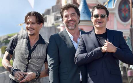 FILE: 'Pirates of the Caribbean: Dead Men Tell No Tales' actors Johnny Depp (left), Javier Bardem (centre) and Orlando Bloom during the European premier of the fifth installment of Disney's 'Pirates of the Caribbean'. Picture: Twitter/@DisneyPirates.