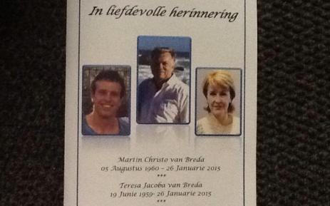 FILE: A memorial service for the slain Van Breda family in Pretoria. Picture: Mia Lindeque/EWN
