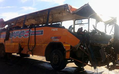 The Putco bus after the accident. Picture:Theo Nkonki/EWN