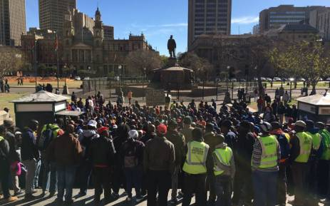 About 600 security contract workers gathered at the ChurchSquare in Tshwane, protesting against the city's outsourcing. Picture: Thomas Holder/EWN.