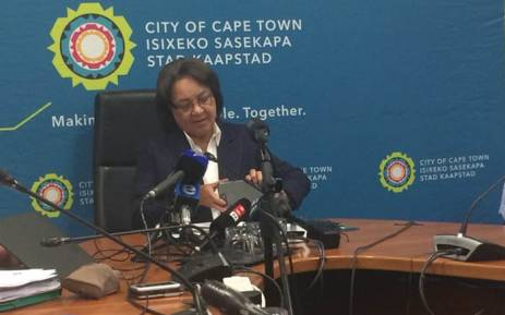 Mayor Patricia de Lille briefing the media on the water crisis in Cape Town on 18 January 2018. Picture: Graig Lee Smith/EWN