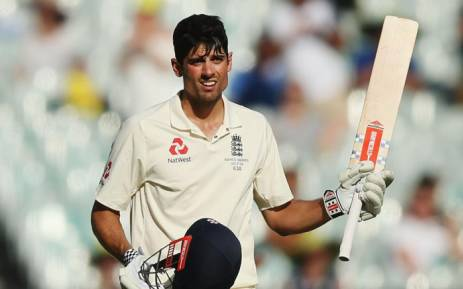 England's Alastair Cook celebrates unbeaten double-century during the third day of the fourth Ashes cricket Test match. Picture: @englandcricket/Twitter.